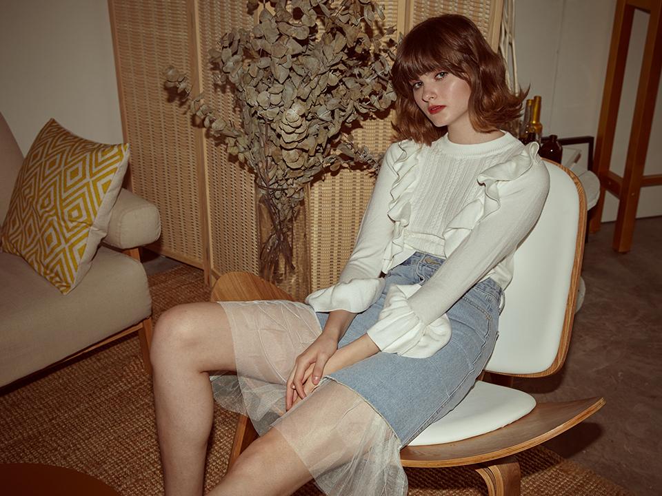 Sena knit top in white