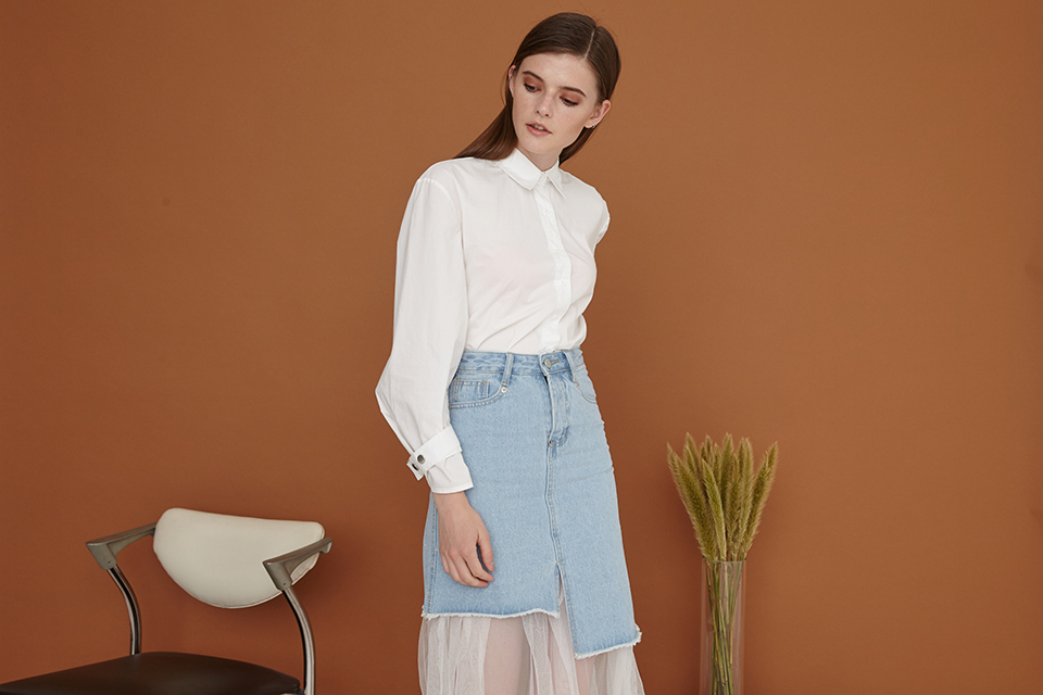 On Tulle denim skirt