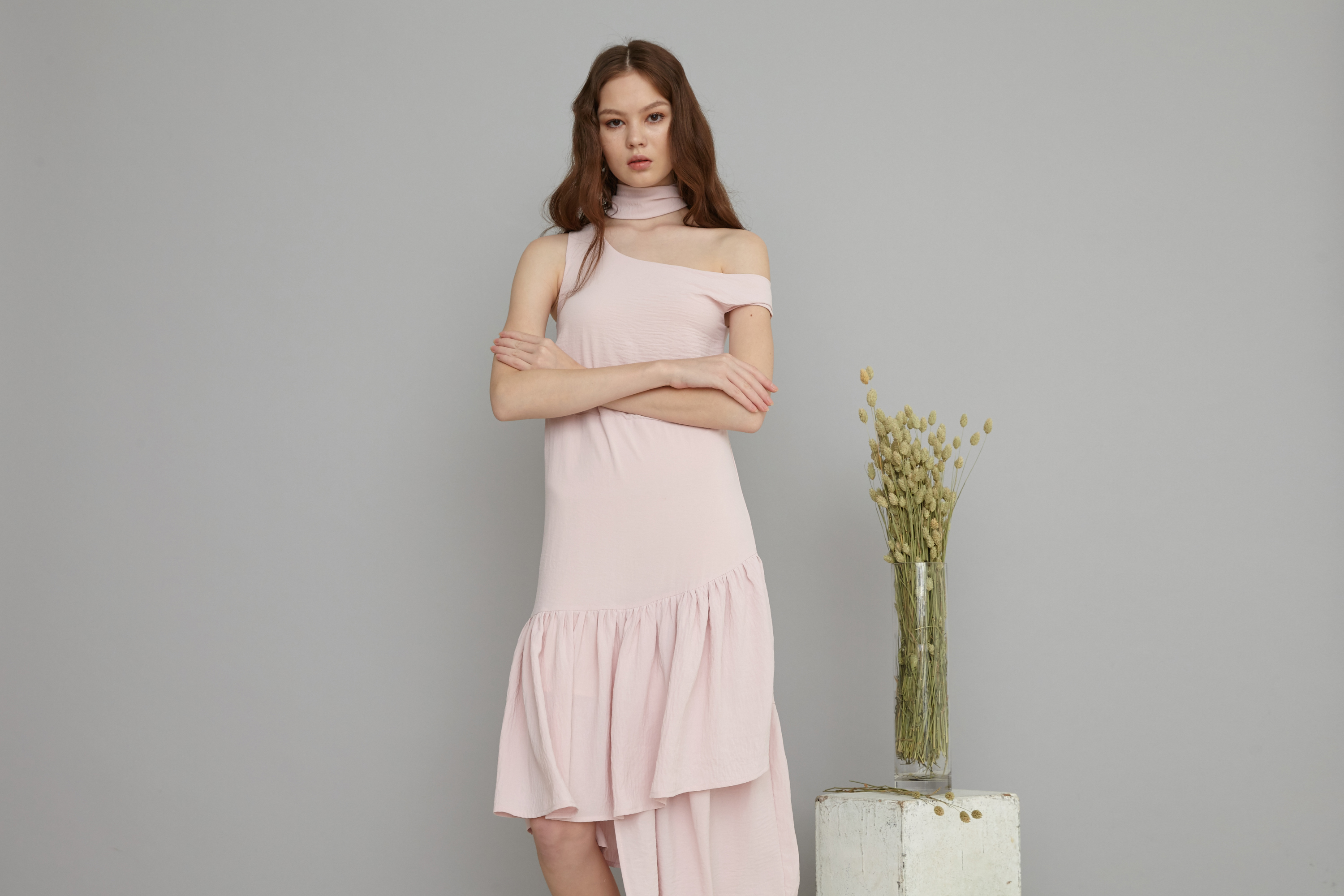 Arissa One shoulder asymmetrical dress in pink