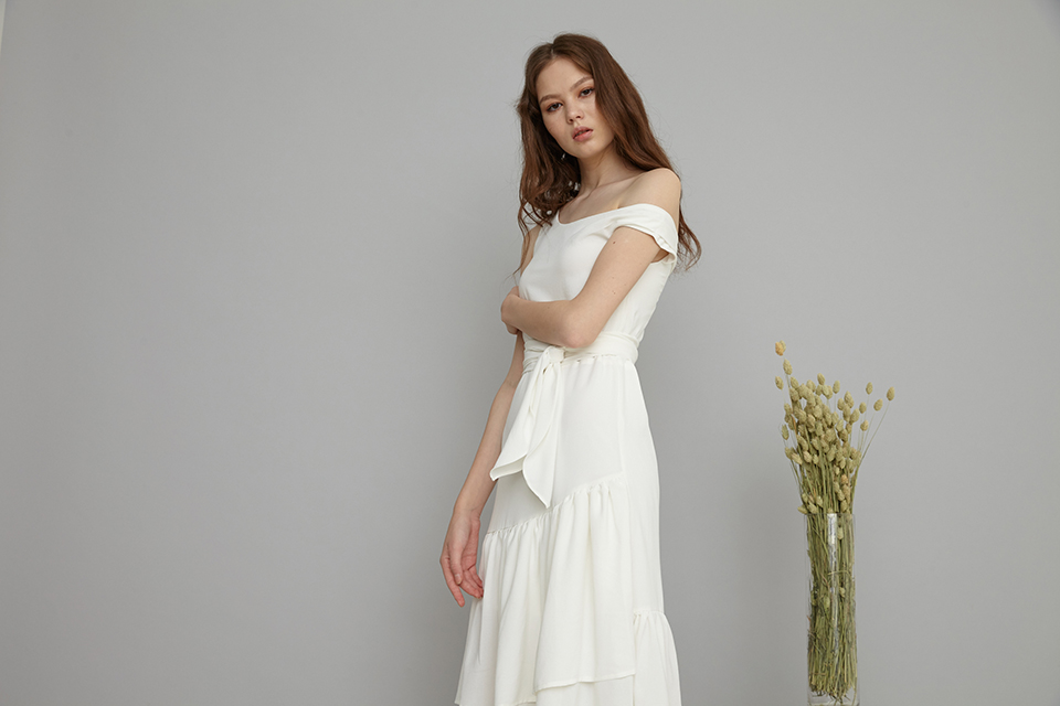 Arissa One shoulder asymmetrical dress in white