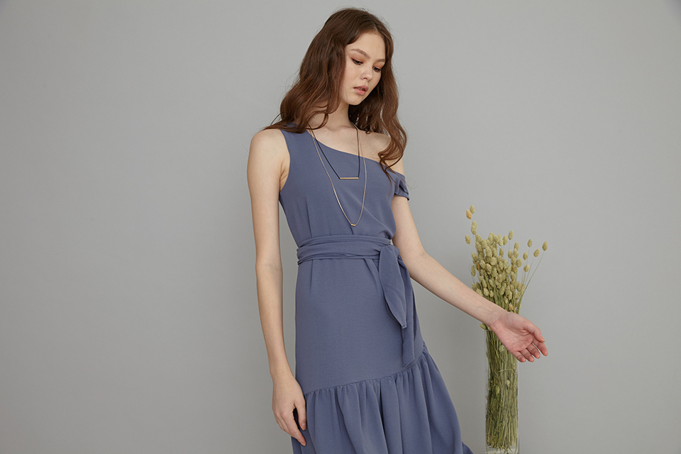 Arissa One shoulder asymmetrical dress in Ash purple
