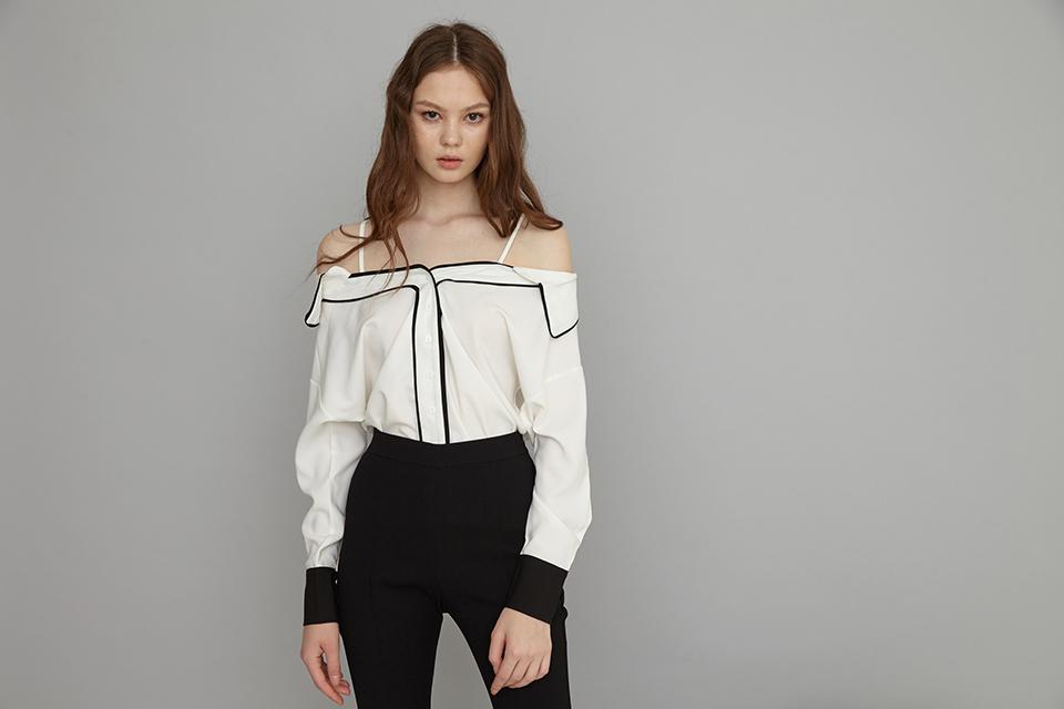 contrast offshoulder shirt