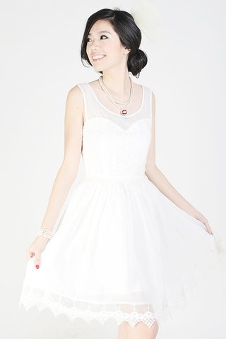 Lee-Lo embroidery and lace dress in offwhite