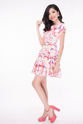 Check Floral on neoprene dress in Pink