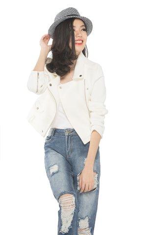 Gabrielle Biker Jacket in Off white