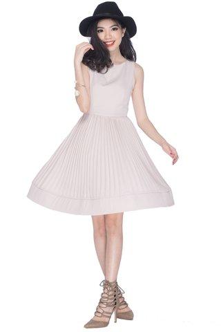 Maison flouncy pleaty dress in light taupe