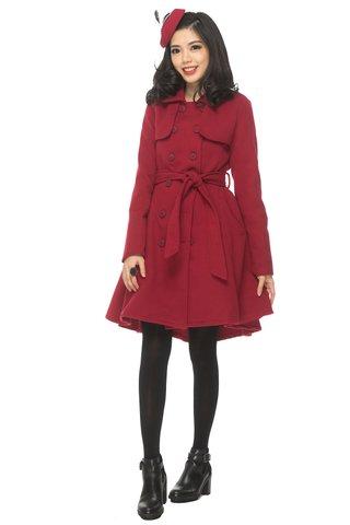 *PREMIUM* Xara Long coat in Raspberry
