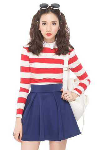 Sacha Striped Top in Red