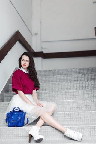 Megan Textured embossed top in Raspberry