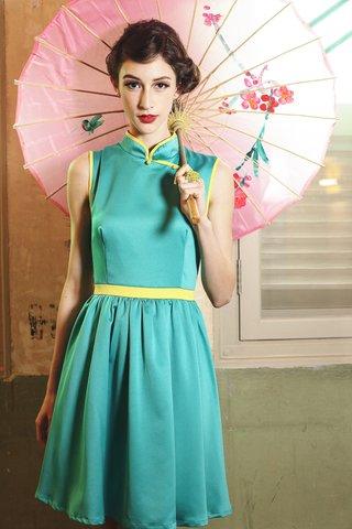 *PREMIUM* Lola Vintage cheongsam dress in Aqua