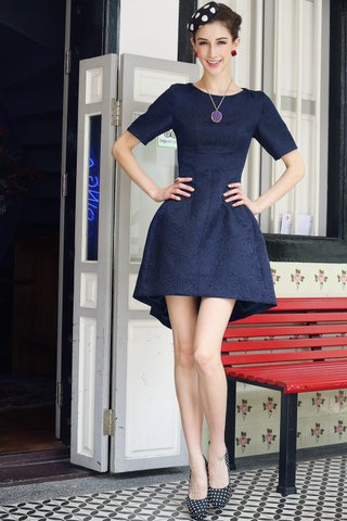 Ingrid Embossed structured dress in Midnight