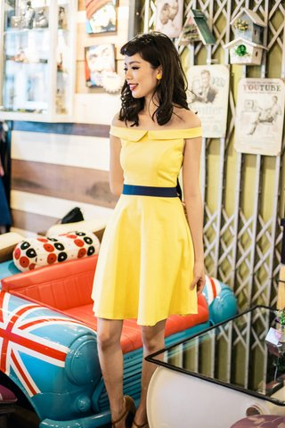 Cinderella Flap off shoulder dress in yellow
