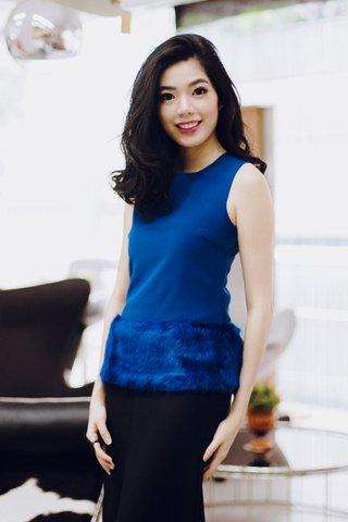 *Premium* Alexandra Fur peplum top in royal blue