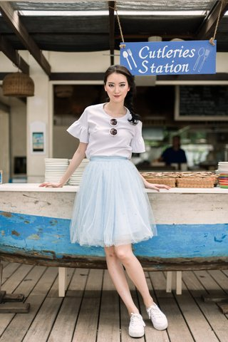Popo Tulle midi skirt in cinderella blue dot
