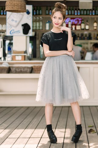 Popo Tulle midi skirt in Grey dot