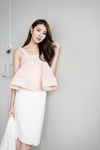 Suzy Flouncy jellyfish top in nude pink