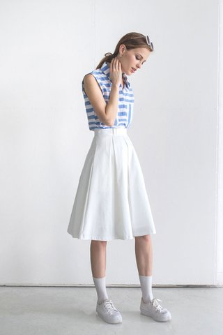 Pleats and bow midi skirt in White