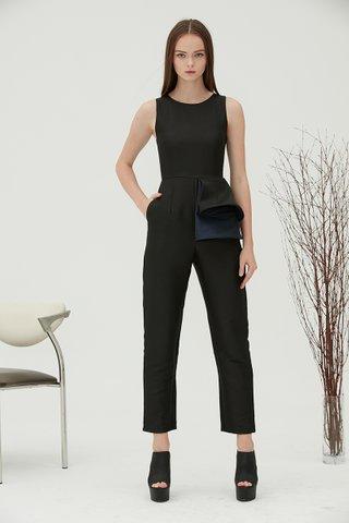 Bea extra peplum jumpsuit in black