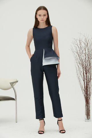 Bea extra peplum jumpsuit in navy blue