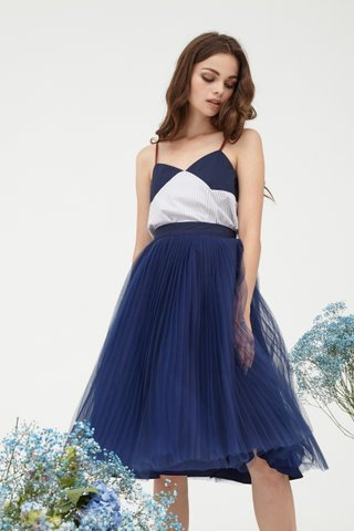 Delaney Pleats Tulle skirt in midnight blue