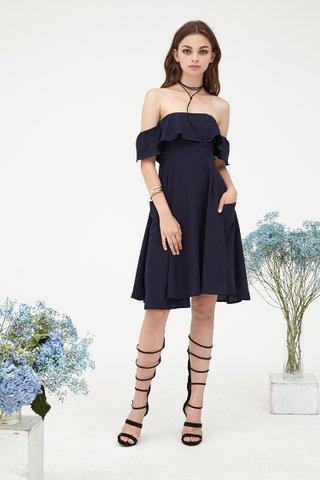 Jillian Off shoulder pocket dress in Midnight