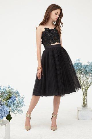 Delaney Pleats Tulle skirt in black