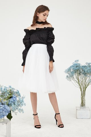 Delaney Pleats Tulle skirt in white