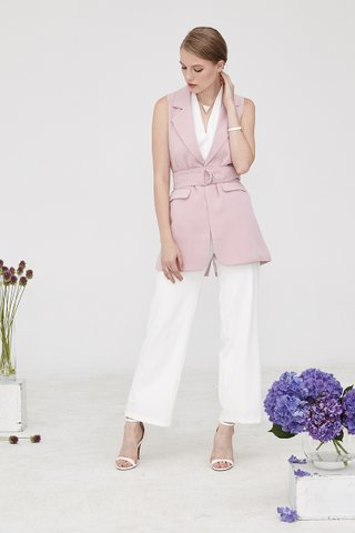 Shelton Belted Waistcoat in Pink