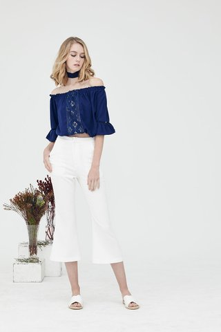 Bohemian lace trim off shoulder top in Navy blue