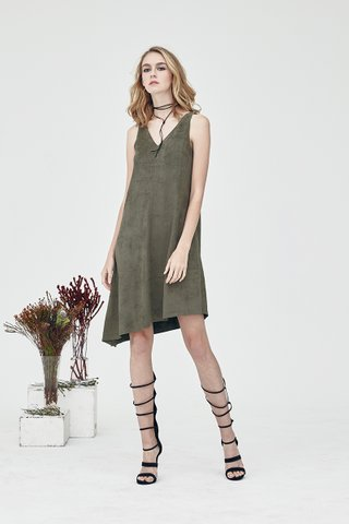 Dorian Suede Relax dress in Olive