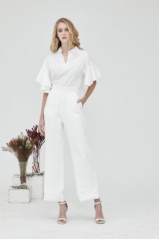 Wide with me basic palazzo pants in white