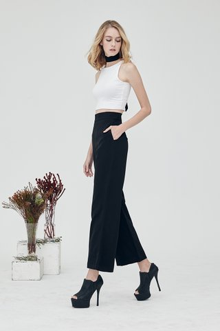 Wide with me basic palazzo pants in Jet black