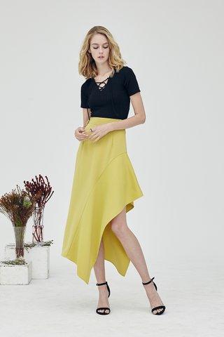 Kat Asymmetrical skirt in Lemon