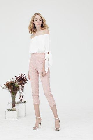 Norah Eyelash Lace Pants in English rose