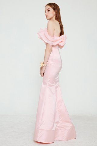 Gracey Drape Ruffle mermaid dress in pink
