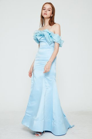 Gracey Drape Ruffle mermaid dress in soft blue