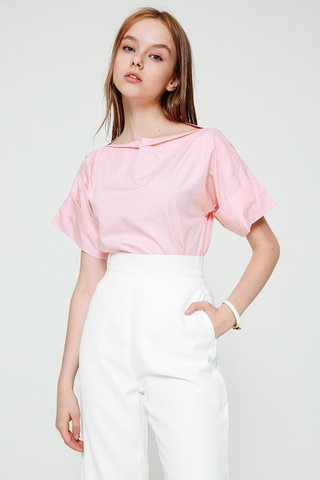 Cowlneck basic top in pink