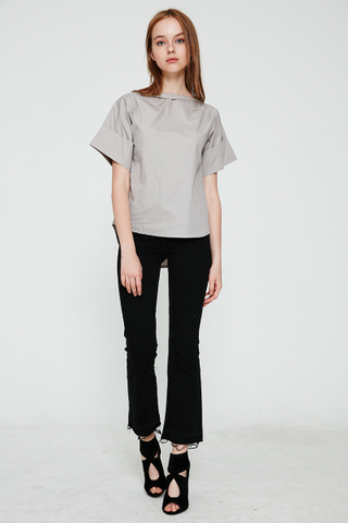 Cowlneck basic top in grey