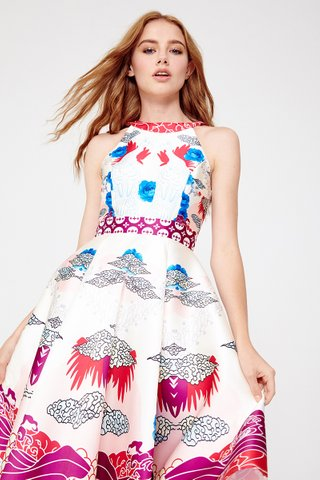 Quinn Chinoiserie halter dress in Rose