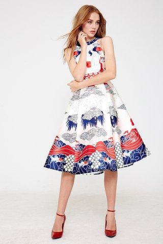 Quinn Chinoiserie halter dress in Blue