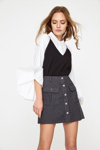 Inika pocket A line skirt in deep grey