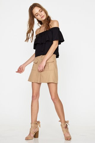 Inika pocket A line skirt in beige
