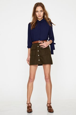 Inika pocket A line skirt in army green