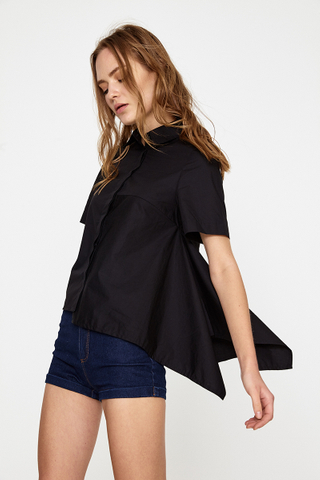 Olivia Asymmetrical shirt in black