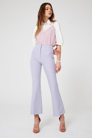 Valery Fit & Flare palazzo pants in Lavender grey