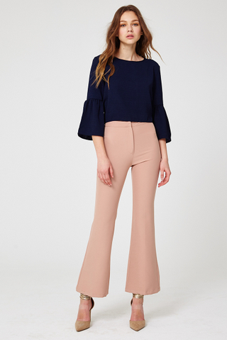 Valery Fit & Flare palazzo pants in Nude