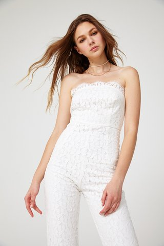 Diandra lace bustier jumpsuit in White