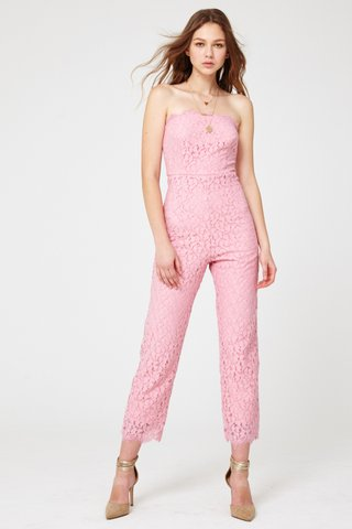 Diandra lace bustier jumpsuit in Pink