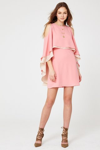 Joy cut out shoulder two ways dress in pink