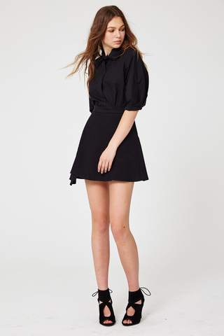 Printemps double collar shirt in black